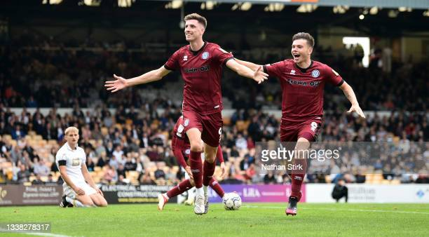 Jake Beesley of Rochdale celebrates after he scores their second goal during the Sky Bet League Two match between Port Vale and Rochdale at Vale Park...
