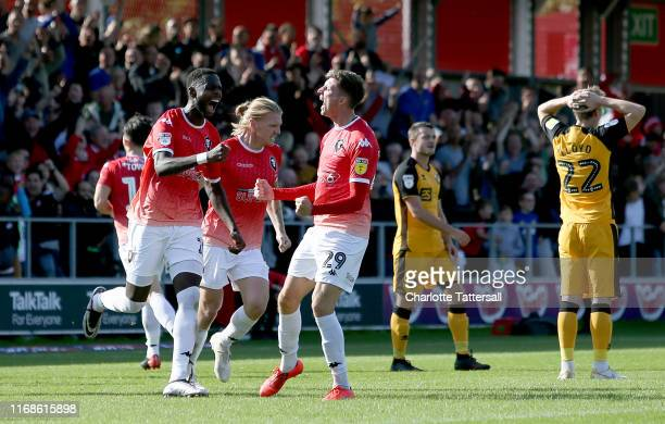 Jake Beesley of Salford City celebrates scoring the equalizing goal to make the score 11 during the Sky Bet League Two match between Salford City and...