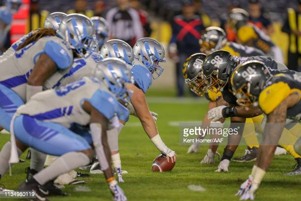 Jake Bennett of the Salt Lake Stallions readies to hike the ball off during the second half of the Alliance of American Football game against the San...