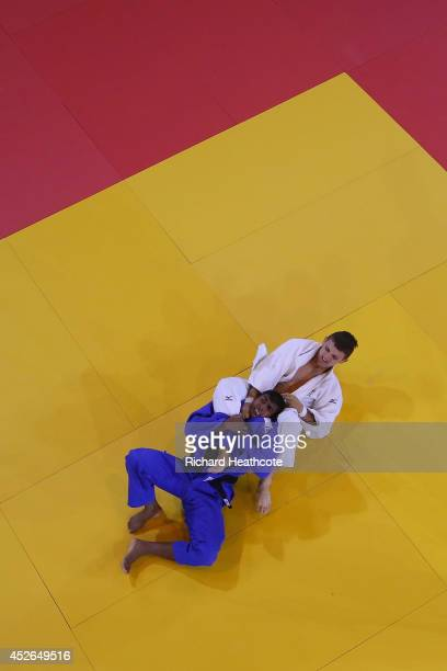 Jake Bensted of Australia beats Chamara Repiyallage of Sri Lanka in the Men's 73kg Judo preliminary round at SECC Precinct during day two of the...