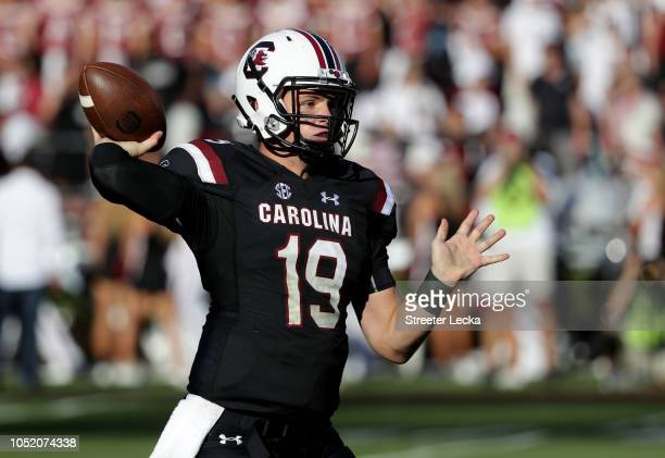 Jake Bentley of the South Carolina Gamecocks drops back to pass against the Texas AM Aggies during their game at WilliamsBrice Stadium on October 13...
