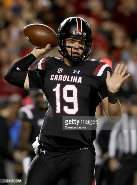 Jake Bentley of the South Carolina Gamecocks drops back to pass against the Tennessee Volunteers during their game at WilliamsBrice Stadium on...