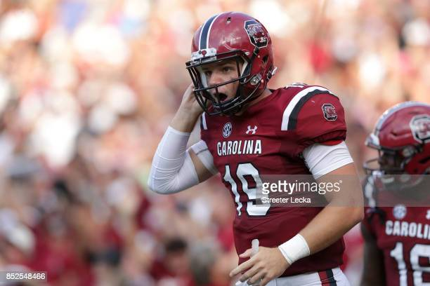 Jake Bentley of the South Carolina Gamecocks reacts after a touchdown against the Louisiana Tech Bulldogs during their game at WilliamsBrice Stadium...