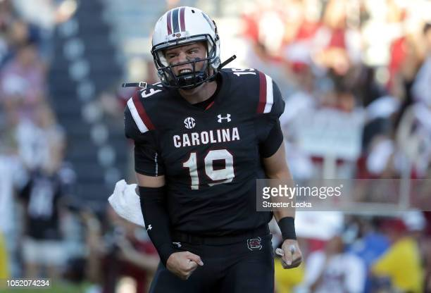 Jake Bentley of the South Carolina Gamecocks reacts after making a play against the Texas AM Aggies during their game at WilliamsBrice Stadium on...