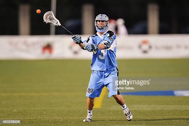 Jake Bernhardt of the Ohio Machine controls the ball against the Boston Cannons on June 6 2014 at Selby Stadium in Delaware Ohio