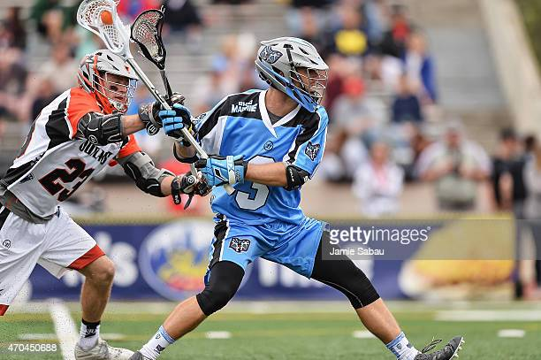 Jake Bernhardt of the Ohio Machine controls the ball against the Denver Outlaws on April 19 2015 at Selby Stadium in Delaware Ohio