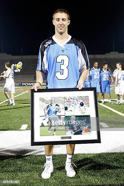 Jake Bernhardt of the Ohio Machine was presented with a team award at the end of the game against the Florida Launch on August 9 2014 at Selby...