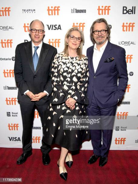Jake Bernstein Meryl Streep and Gary Oldman attends the North American Premiere of 'The Laundromat' at the The Princess of Wales Theatre on September...