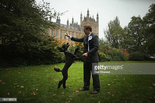 Jake Berry Conservative MP for Rossendale and Darwen stands in front of The Houses of Parliament with his dog Lola a Standard Poodle during the...