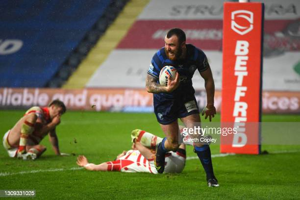 Jake Bibby of Wigan Warriors scores a try during the Betfred Super League match between Leigh Centurions and Wigan Warriors at Emerald Headingley...