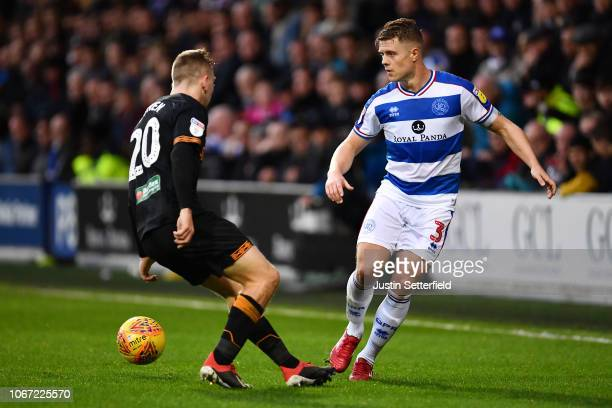 Jake Bidwell of Queens Park Rangers and Jarrod Bowen of Hull City in action during the Sky Bet Championship match between Queens Park Rangers and...