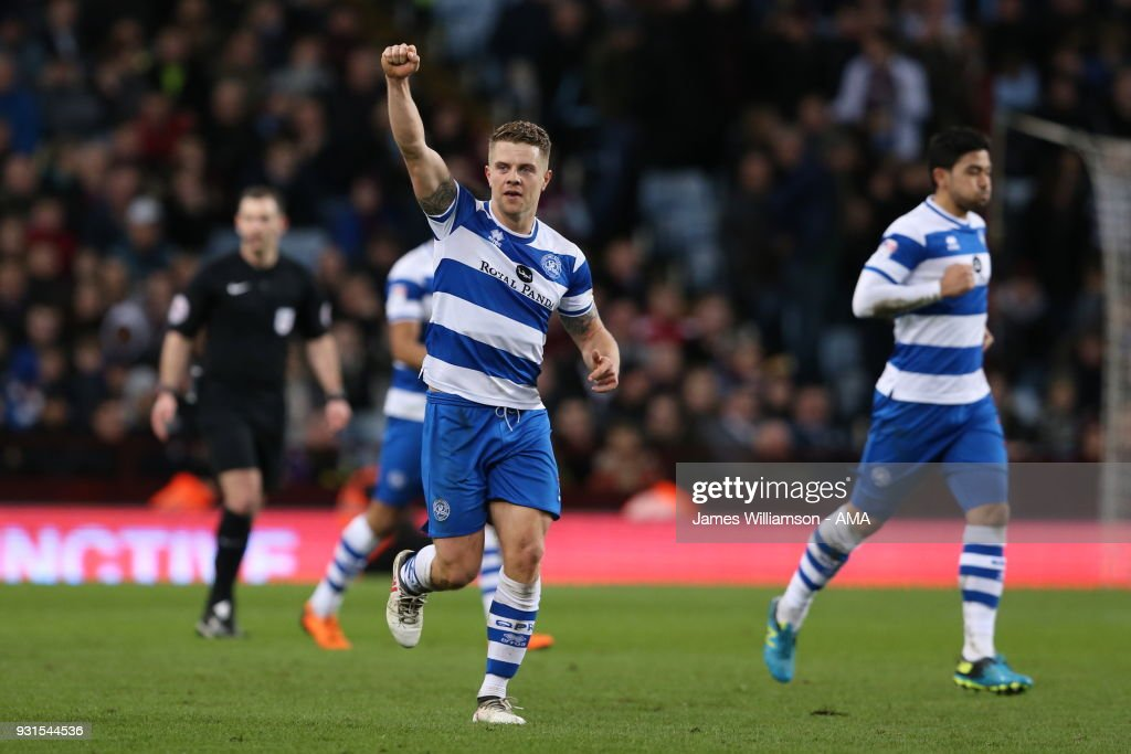 Jake Bidwell of Queens Park Rangers celebrates after scoring a goal to make it 2-0 during the Sky Bet Championship match between Aston Villa and Queens Park Rangers at Villa Park on March 13, 2018 in Birmingham, England.