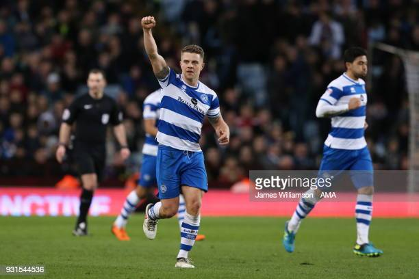 Jake Bidwell of Queens Park Rangers celebrates after scoring a goal to make it 20 during the Sky Bet Championship match between Aston Villa and...