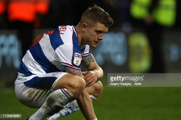 Jake Bidwell of Queens Park Rangers reacts after the final whistle having lost 23 during the Sky Bet Championship match between Queens Park Rangers...