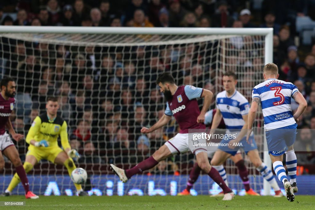 Jake Bidwell of Queens Park Rangers scores a goal to make it 2-0 during the Sky Bet Championship match between Aston Villa and Queens Park Rangers at Villa Park on March 13, 2018 in Birmingham, England.