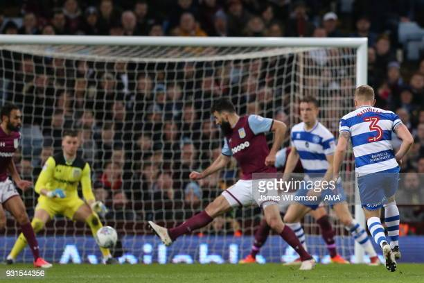 Jake Bidwell of Queens Park Rangers scores a goal to make it 20 during the Sky Bet Championship match between Aston Villa and Queens Park Rangers at...