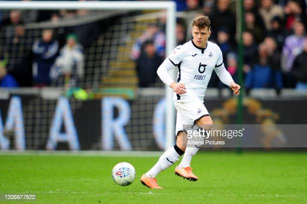 Jake Bidwell of Swansea City in action during the Sky Bet Championship match between Swansea City and West Bromwich Albion at the Liberty Stadium on...