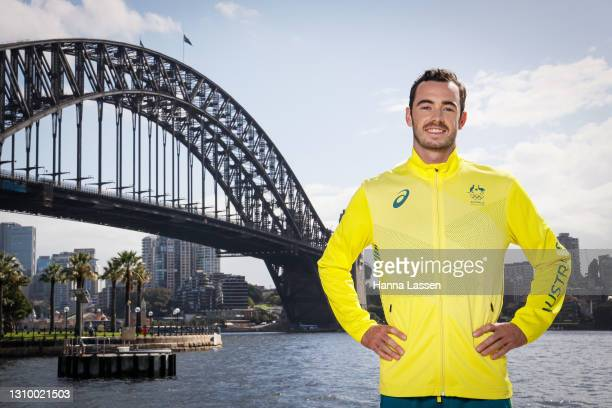 Jake Birtwhistle poses during the Australian Olympic Team Tokyo 2020 uniform unveiling at the Overseas Passenger Terminal on March 31, 2021 in...