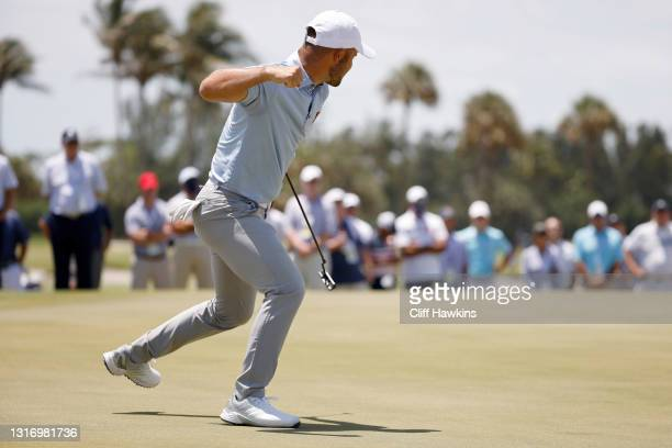 Jake Bolton of Team Great Britain and Ireland celebrates on the 17th green during Day One of The Walker Cup at Seminole Golf Club on May 08, 2021 in...