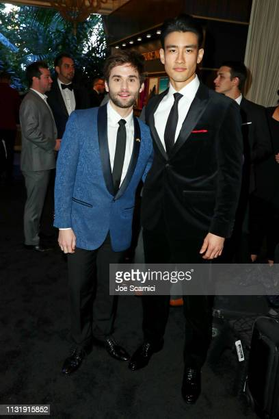 Jake Borelli and Alex Landi attend the MercedesBenz USA Awards Viewing Party at Four Seasons Los Angeles at Beverly Hills on February 24 2019 in Los...