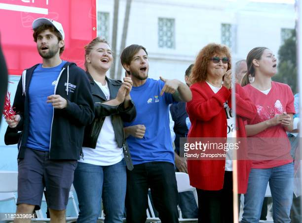 Jake Borelli Jaicy Elliot Alex Blue Davis Melissa Manchester and Zoe Perry on stage during AIDS Walk Los Angeles 2019 on October 20 2019 in Los...