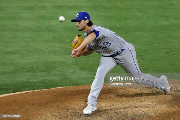 Jake Brentz of the Kansas City Royals throws a pitch in the eighth inning against the Los Angeles Angels at Angel Stadium of Anaheim on June 08, 2021...