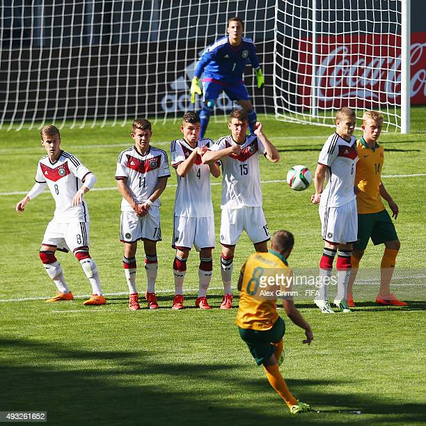 Jake Brimmer of Australia tries to score with a freekick during the FIFA U17 World Cup Chile 2015 Group C match between Australia and Germany at...