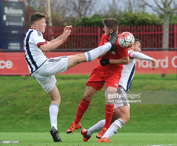 Jake Brimmer of Liverpool and Dara O'Shea of West Bromwich Albion in action during the Liverpool v West Bromwich Albion U18 Premier League game at...