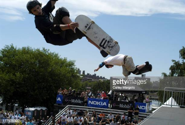 Jake Brown and Eric Koston during The Nokia TMobile Ramps Amps Invitational Presented by EXPNcom at Randalls Island in New York City New York United...