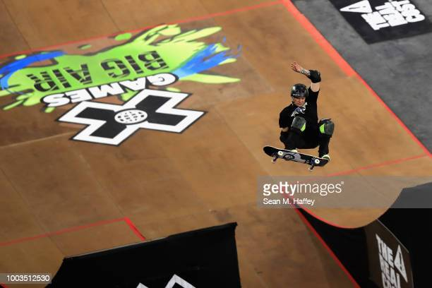 Jake Brown of Australia competes in the Skateboard Big Air Final during the ESPN X Games at US Bank Stadium on July 21 2018 in Minneapolis Minnesota