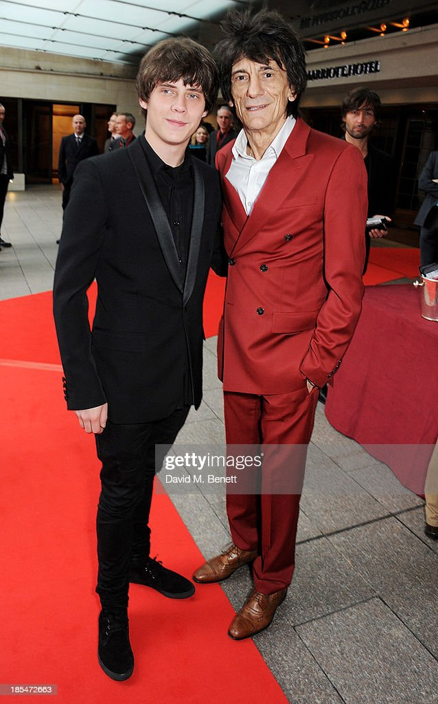 Jake Bugg (L) and Ronnie Wood arrive at The Q Awards at The Grosvenor House Hotel on October 21, 2013 in London, England.