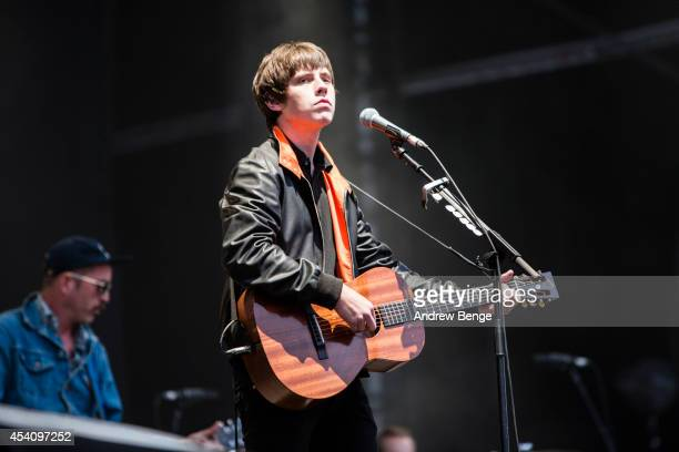 Jake Bugg performs on stage at Leeds Festival at Bramham Park on August 24 2014 in Leeds United Kingdom