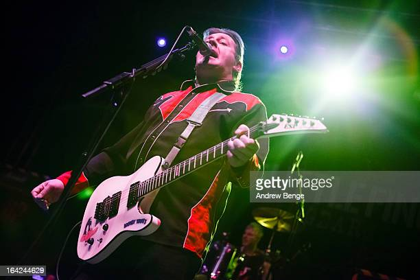 Jake Burns of Stiff Little Fingers performs on stage at Leeds O2 Academy on March 21 2013 in Leeds England