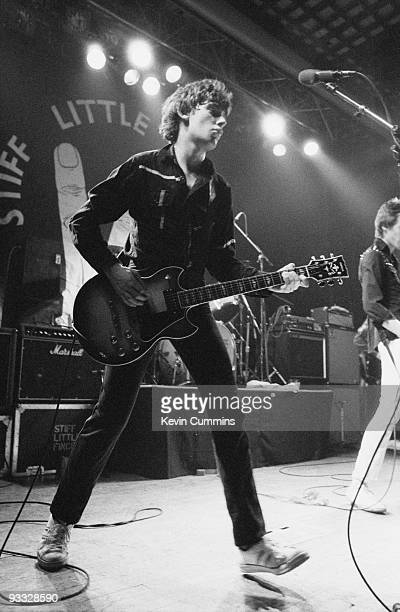 Jake Burns singer and guitarist with the Stiff Little Fingers performs on stage at Liverpool University on March 07 1980
