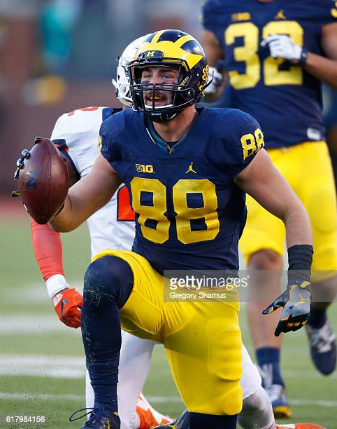 Jake Butt of the Michigan Wolverines after a play while playing the Illinois Fighting Illinion October 22 2016 at Michigan Stadium in Ann Arbor...