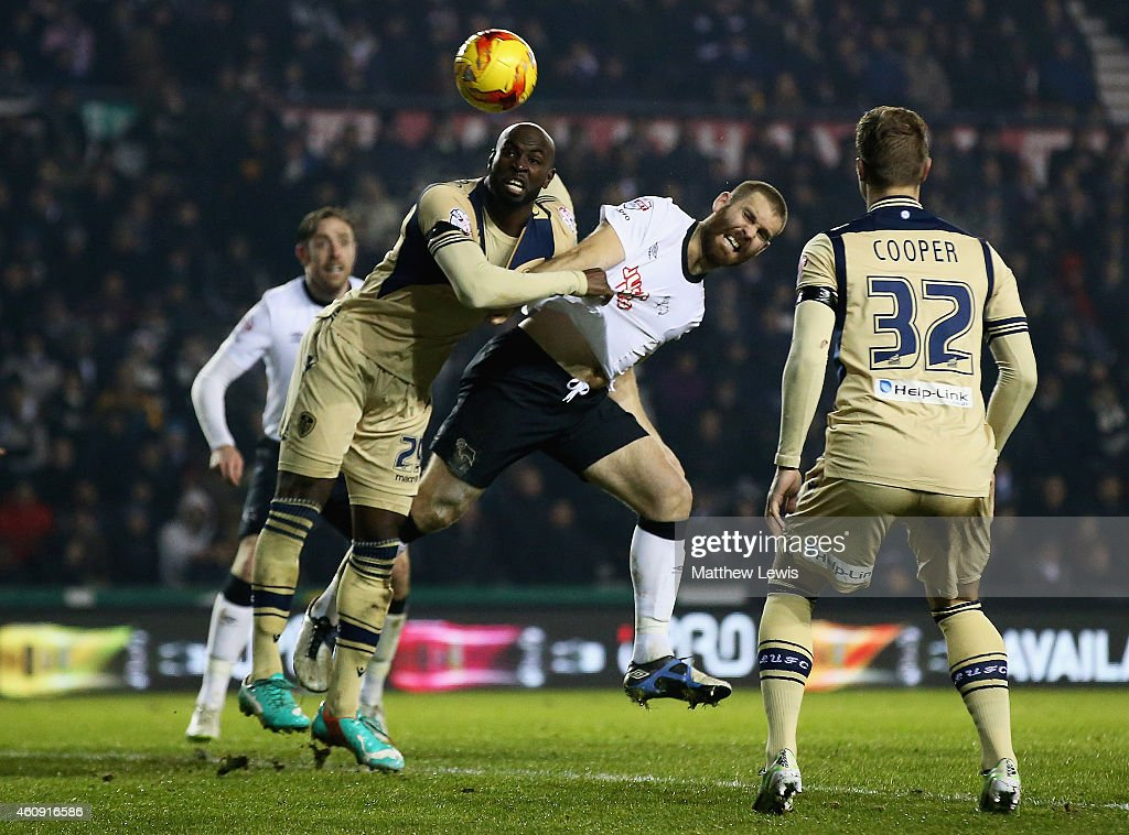 Jake Buxton of Derby County heads the ball to score a goal during the Sky Bet Championship match between Derby County and Leeds United at Pride Park Stadium on December 30, 2014 in Derby, England.