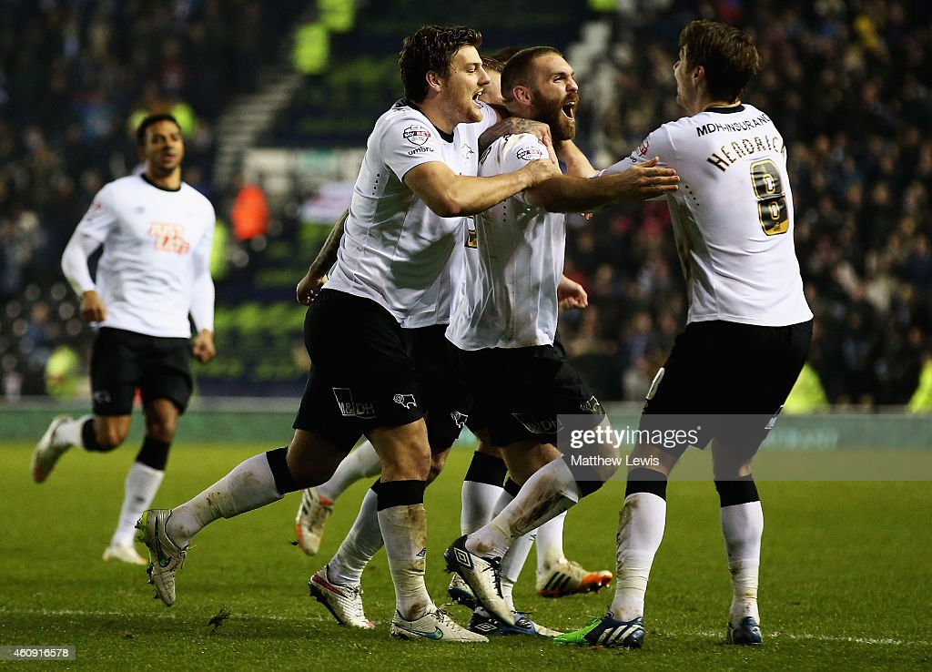 Jake Buxton of Derby County is congratulated on his goal during the Sky Bet Championship match between Derby County and Leeds United at Pride Park Stadium on December 30, 2014 in Derby, England.
