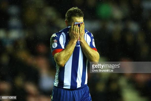 Jake Buxton of Wigan Athletic reacts during the Sky Bet Championship match between Wigan Athletic and Sheffield Wednesday at DW Stadium on February 3...