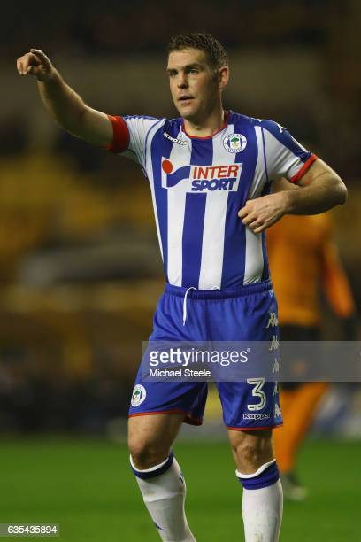 Jake Buxton of Wigan during the Sky Bet Championship match between Wolverhampton Wanderers and Wigan Athletic at Molineux on February 14 2017 in...
