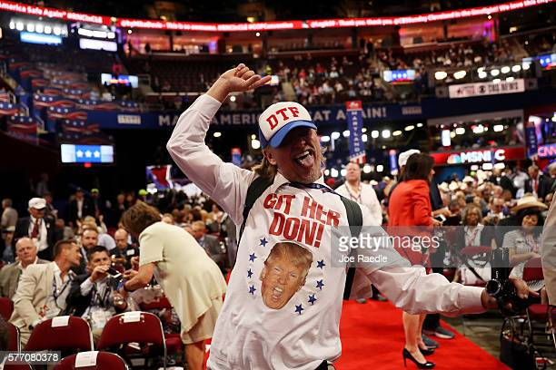 Jake Byrd of California dances on the convention floor on the first day of the Republican National Convention on July 18 2016 at the Quicken Loans...