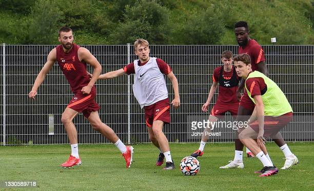 Jake Cain holds off Nathaniel Phillips of Liverpool during a training session on July 25, 2021 in UNSPECIFIED, Austria.