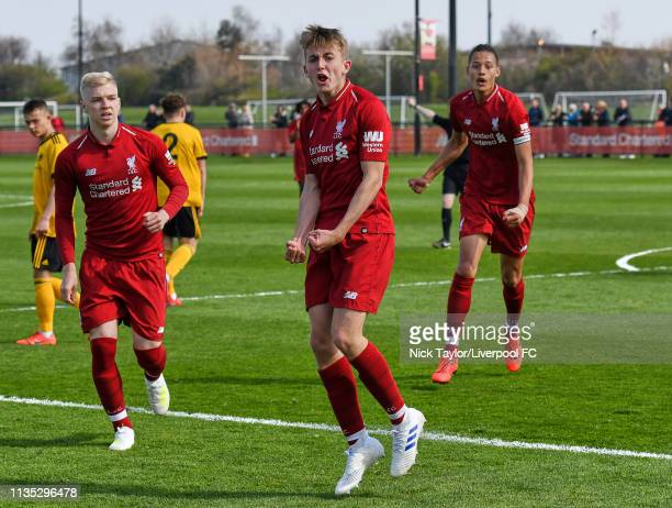 Jake Cain of Liverpool celebrates scoring Liverpool's first goal in the Liverpool v Wolverhampton Wanderers U18 Premier League match at the Kirkby...