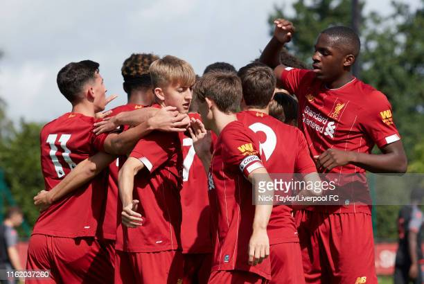 Jake Cain of Liverpool celebrates scoring Liverpool's first goal during the U18 Premier League game at The Kirkby Academy on August 17 2019 in Kirkby...