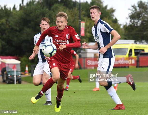 Jake Cain of Liverpool in action during the Liverpool U18 v West Bromwich Albion U18 game at The Kirkby Academy on August 25 2018 in Kirkby England