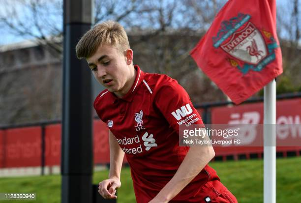 Jake Cain of Liverpool in action during the U18 Premier League game at The Kirkby Academy on March 2 2019 in Kirkby England