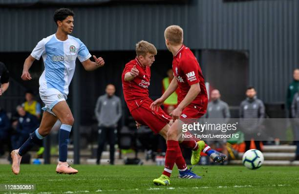 Jake Cain of Liverpool scores Liverpool's fourth goal during the U18 Premier League game at The Kirkby Academy on March 2 2019 in Kirkby England