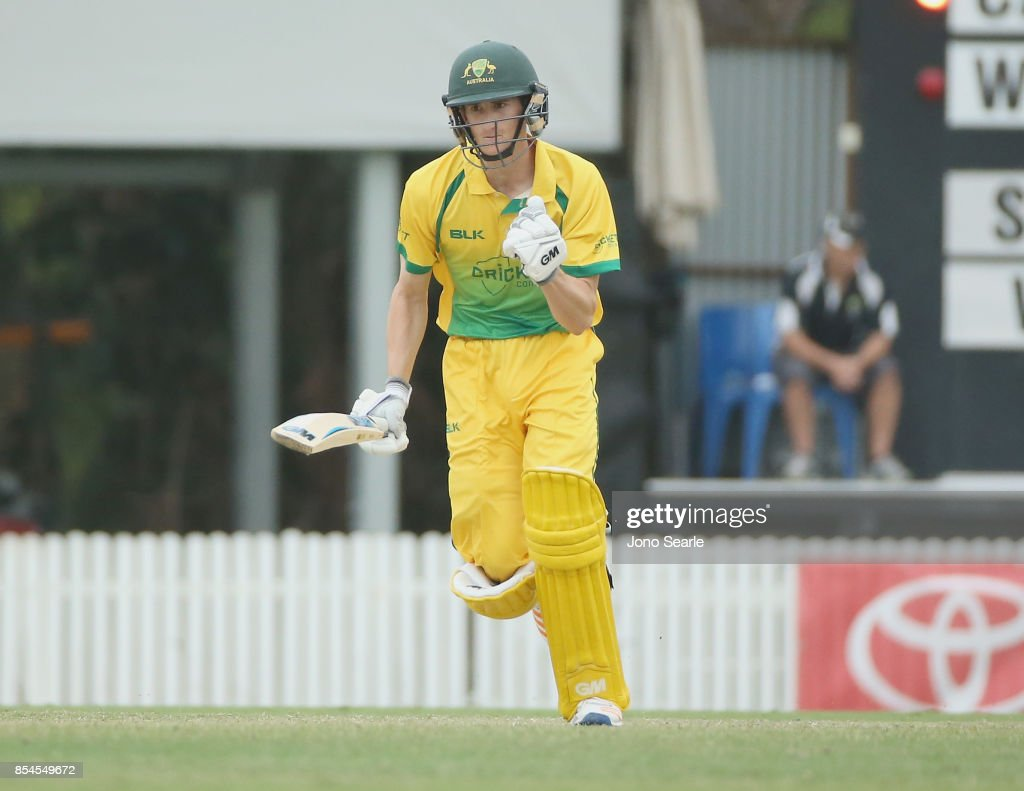 Jake Carder from CA XI celebrates his century during the JLT One Day Cup match between South Australia and the Cricket Australia XI at Allan Border Field on September 27, 2017 in Brisbane, Australia.