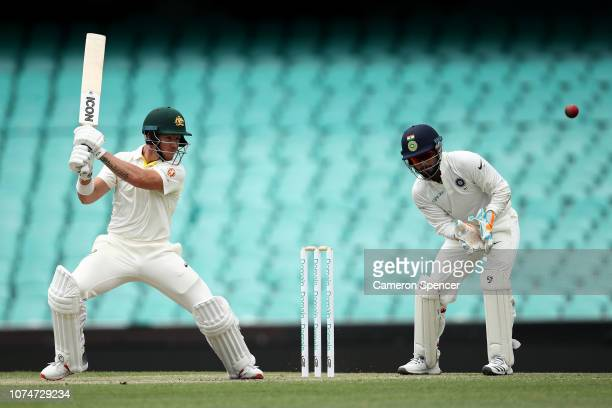 Jake Carder of Australia XI bats during day three of the International Four Day tour match between the Cricket Australia XI and India at Sydney...
