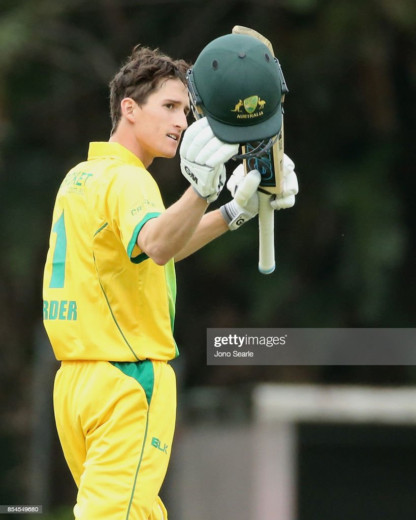 Jake Carder of CA XI celebrates his century during the JLT One Day Cup match between South Australia and the Cricket Australia XI at Allan Border Field on September 27, 2017 in Brisbane, Australia.
