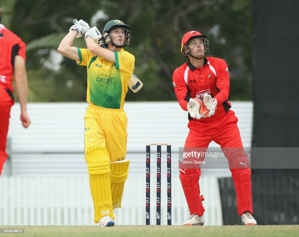 Jake Carder of CA XI hits a ball during the JLT One Day Cup match between South Australia and the Cricket Australia XI at Allan Border Field on September 27, 2017 in Brisbane, Australia.